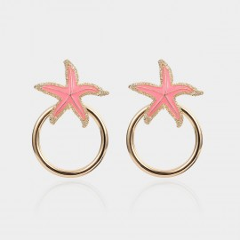 Coen C Glitzy Sea Star Pink Earrings (B01392K1)