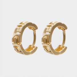 Coen C Hollow Runes Gold Earrings (B01436K1)