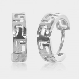 Coen C Hollow Runes Silver Earrings (B01436K1)