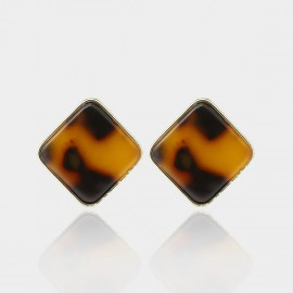 Coen C Simple Square Leopard Earrings (B01464K1)