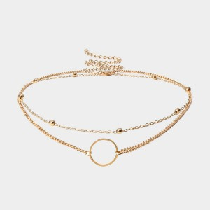 Coen C 2-Pieces Hollow Circle Gold Necklace Set (C01974K1)