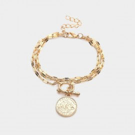 Coen C Queen Coin Gold Bracelet (E00349K1)