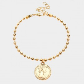 Coen C Queen Coin Beads Gold Bracelet (E00350K1)