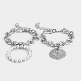 Coen C 2-Pieces Bliss Cancer Silver Bracelet Set (X00157K1)