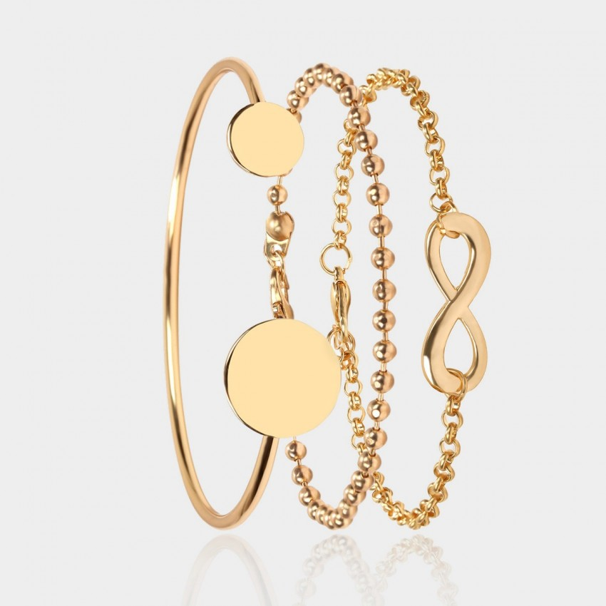 Coen C 3-Pieces La Blanc Gold Bracelet Set (X00165K1)