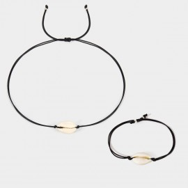 Coen C 2-Pieces Sea Memory Black Bracelet Necklace Set (X00178K1)