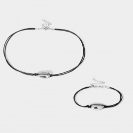 Coen C 2-Pieces Sea Voice Silver Bracelet Necklace Set (X00179K1)