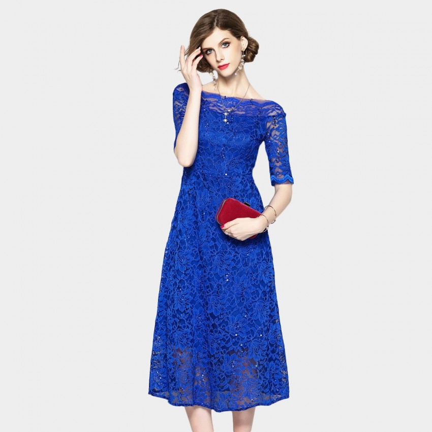 Buy OFYA Boat Neck Lace Blue Dress online, shop OFYA with free shipping