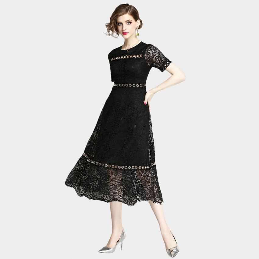 Buy OFYA Ringed Black Dress online, shop OFYA with free shipping