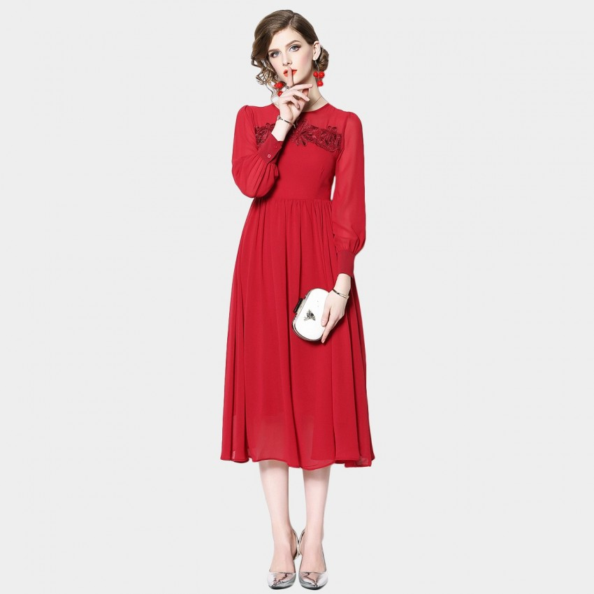 Buy OFYA Floral Bright Red Dress online, shop OFYA with free shipping
