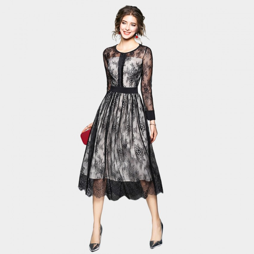 Buy OFYA Semi-Sheer Floral Black Dress online, shop OFYA with free shipping