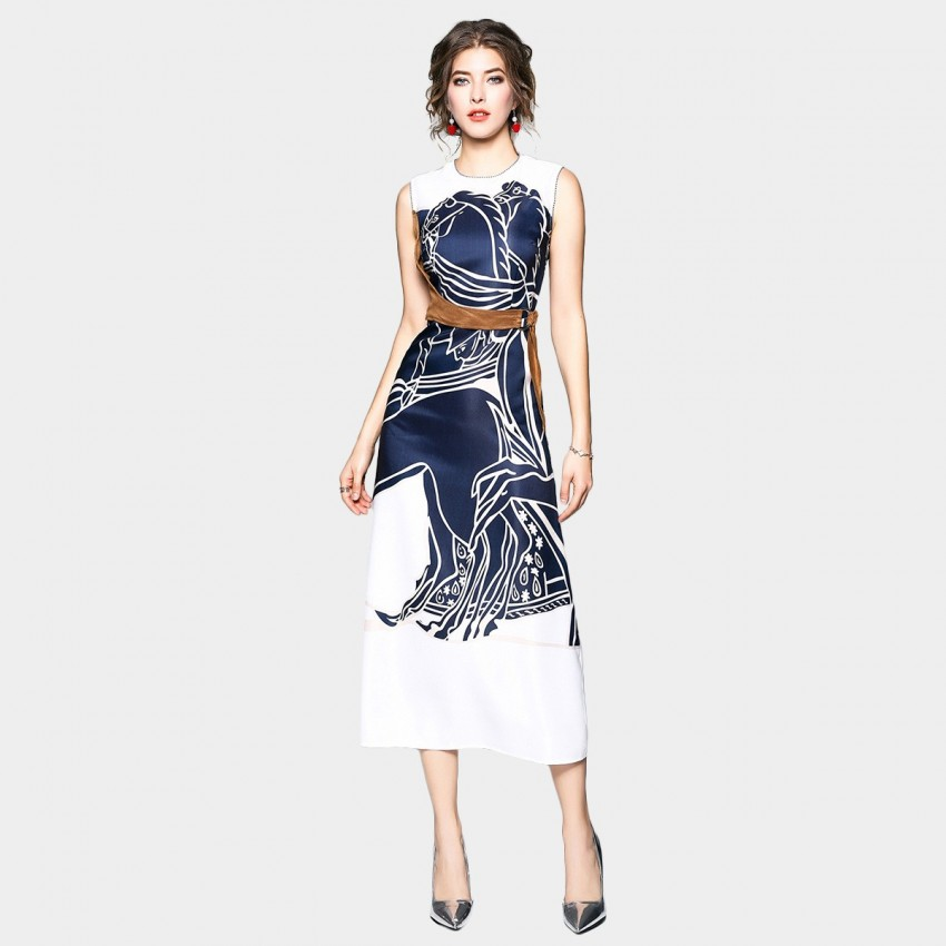OFYA Horse Print Belted Navy Dress (6135)