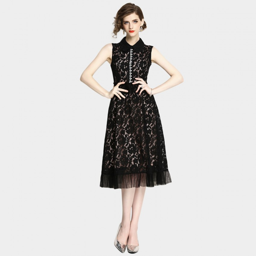 Buy OFYA Floral Lace Black Dress online, shop OFYA with free shipping