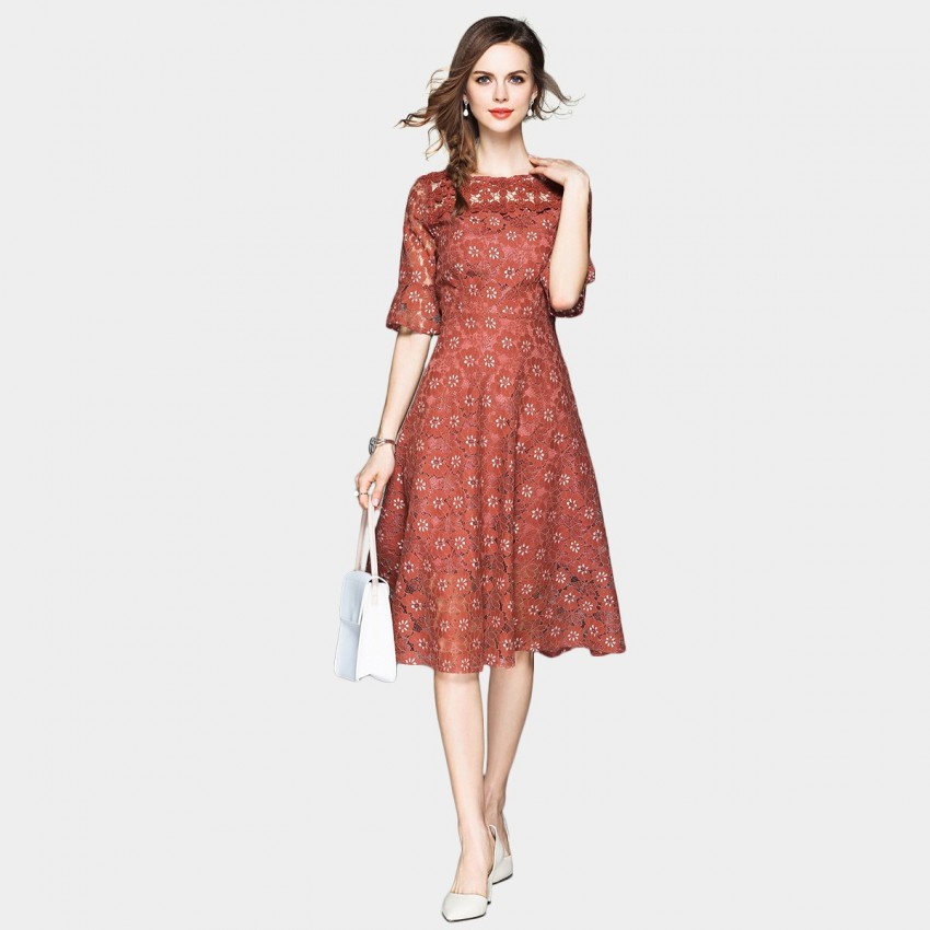Buy OFYA Floral Lace Midi Redbean Dress online, shop OFYA with free shipping