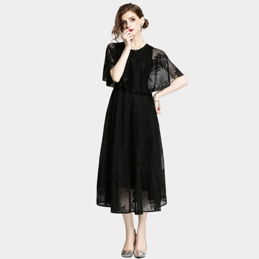 Buy OFYA Batwing Midi Black Dress online, shop OFYA with free shipping