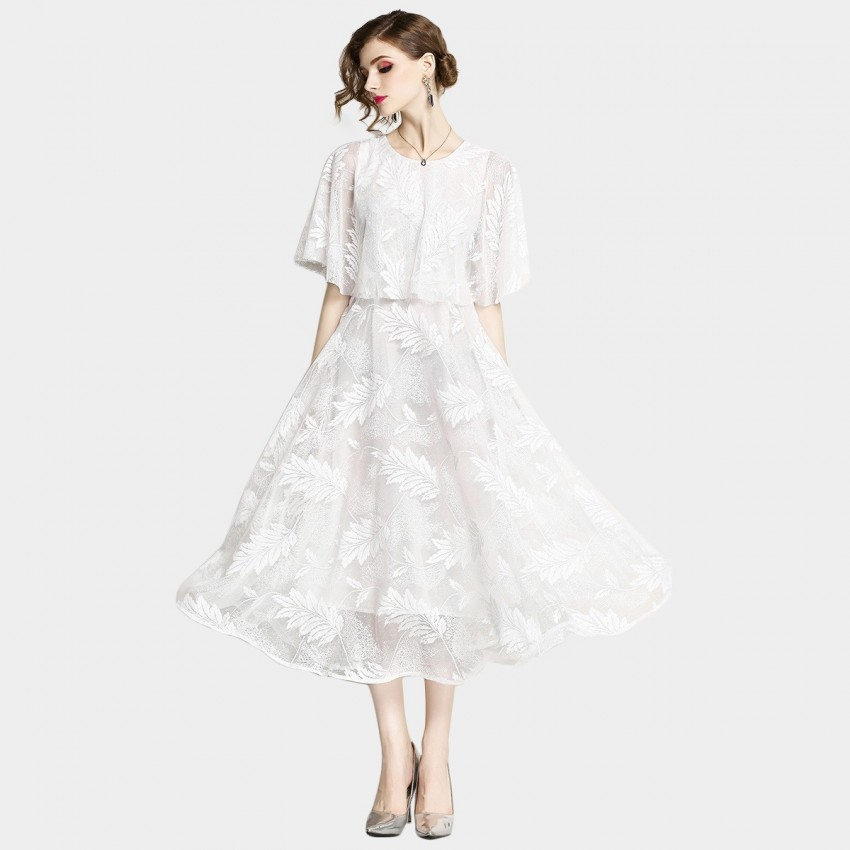 Buy OFYA Batwing Midi White Dress online, shop OFYA with free shipping