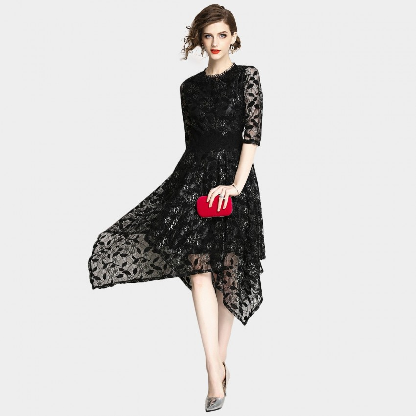 OFYA Natural Lace Black Dress (6151)