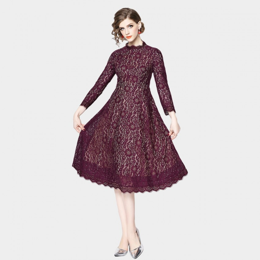 OFYA Ethnic Floral Wine Dress (6166)