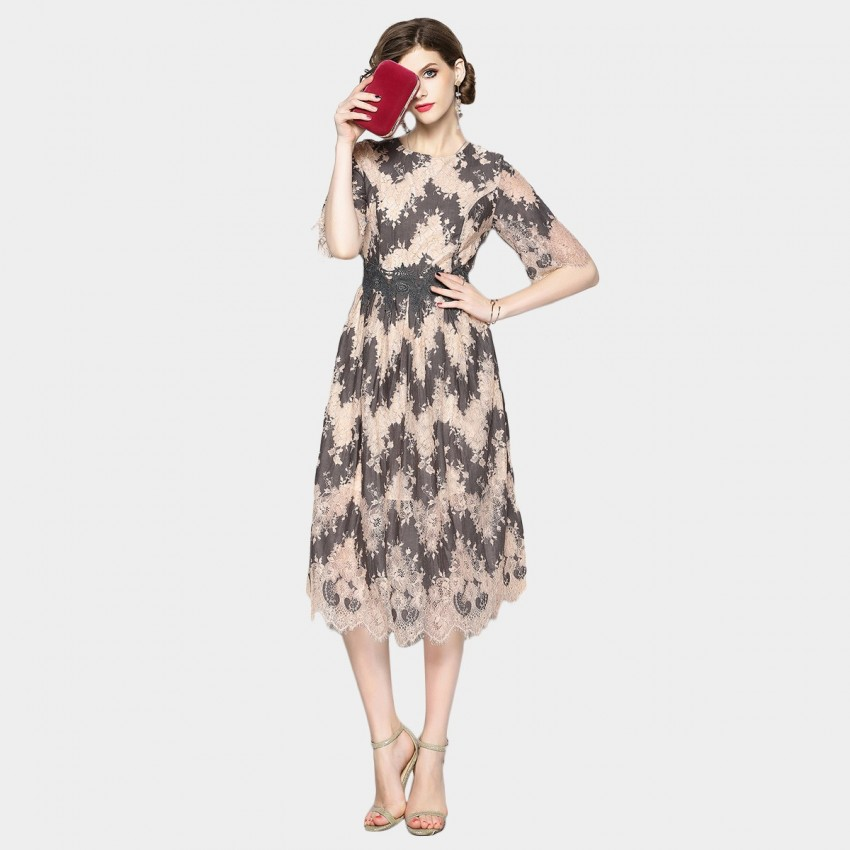 Buy OFYA Zig-Zag Floral Grey Dress online, shop OFYA with free shipping