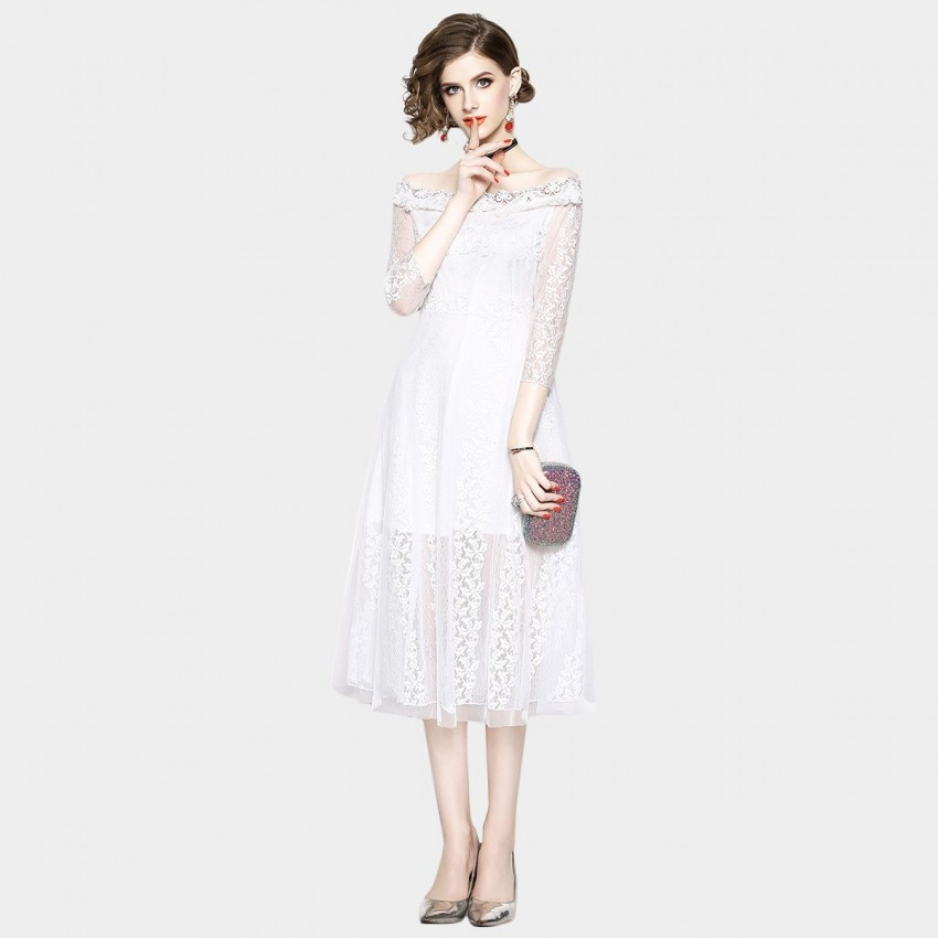 Buy OFYA Off-the-Shoulder Midi White Dress online, shop OFYA with free shipping