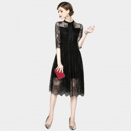 OFYA Ribbon Neck Black Dress (6186)