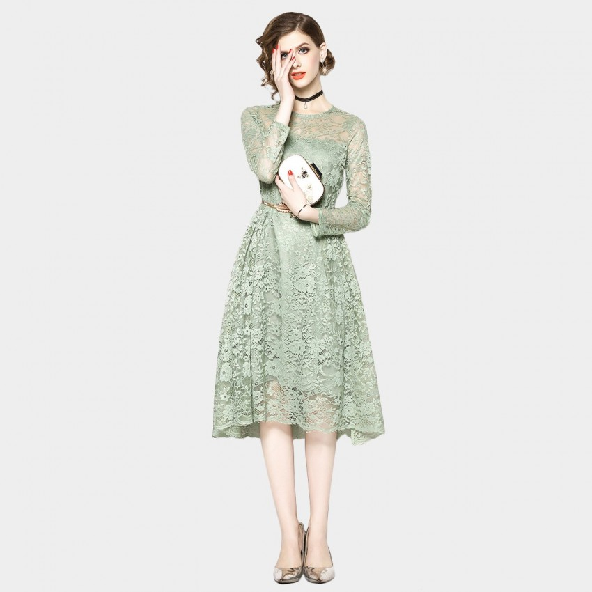 Buy OFYA Natural Belted Green Dress online, shop OFYA with free shipping