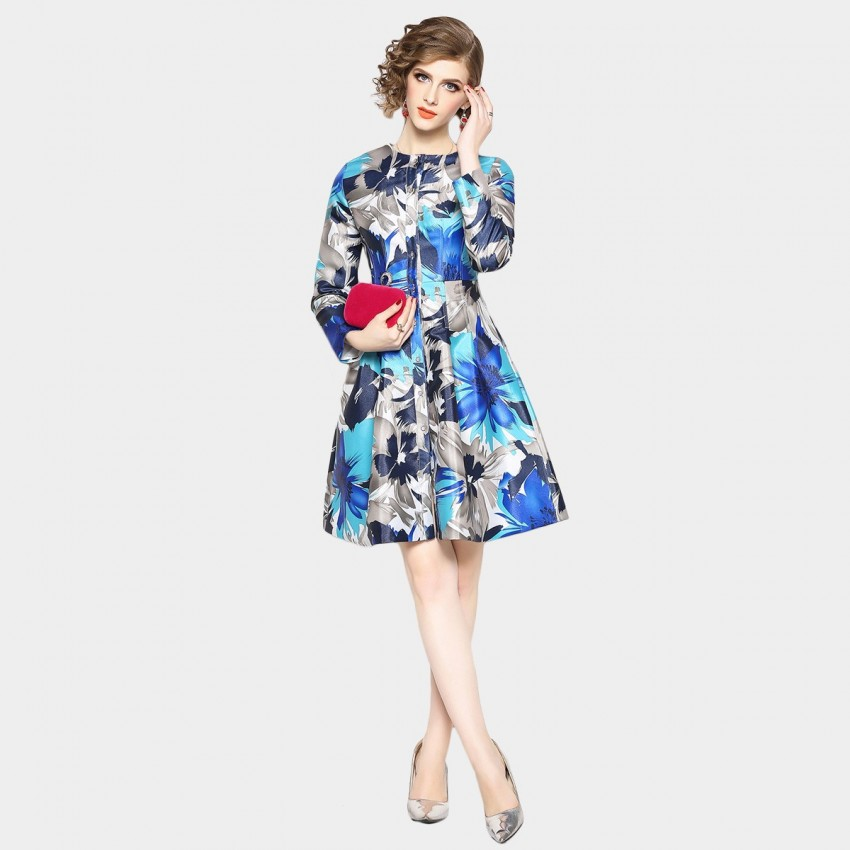 Buy OFYA Buttoned Floral Blue Dress online, shop OFYA with free shipping