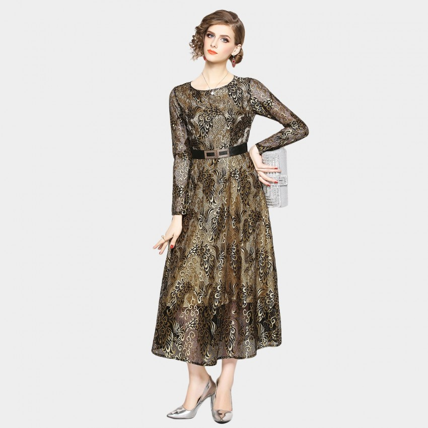 Buy OFYA Oriental Maxi Gold Dress online, shop OFYA with free shipping