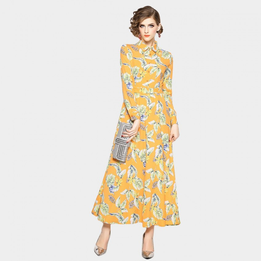 Buy OFYA Sunshine Natural Yellow Dress online, shop OFYA with free shipping