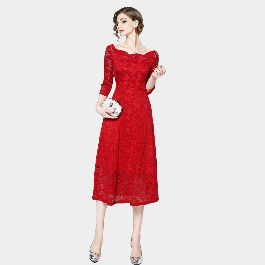 Buy OFYA Wide-Neck Leaf Red Dress online, shop OFYA with free shipping