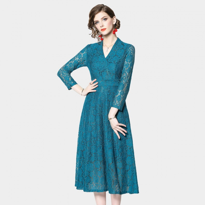 Buy OFYA Alluring V-Neck Blue Dress online, shop OFYA with free shipping