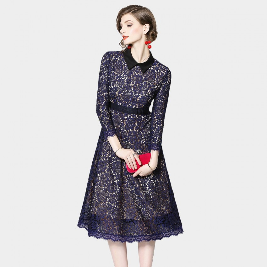 Buy OFYA Shirt Collar Lace Navy Dress online, shop OFYA with free shipping