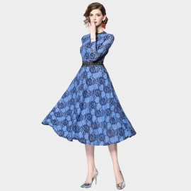OFYA High-Neck Floral Blue Dress (6220)