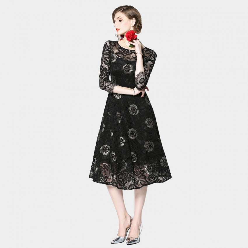 Buy OFYA Floral Lace Midi Black Dress online, shop OFYA with free shipping