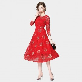 OFYA Floral Lace Midi Red Dress (6221)