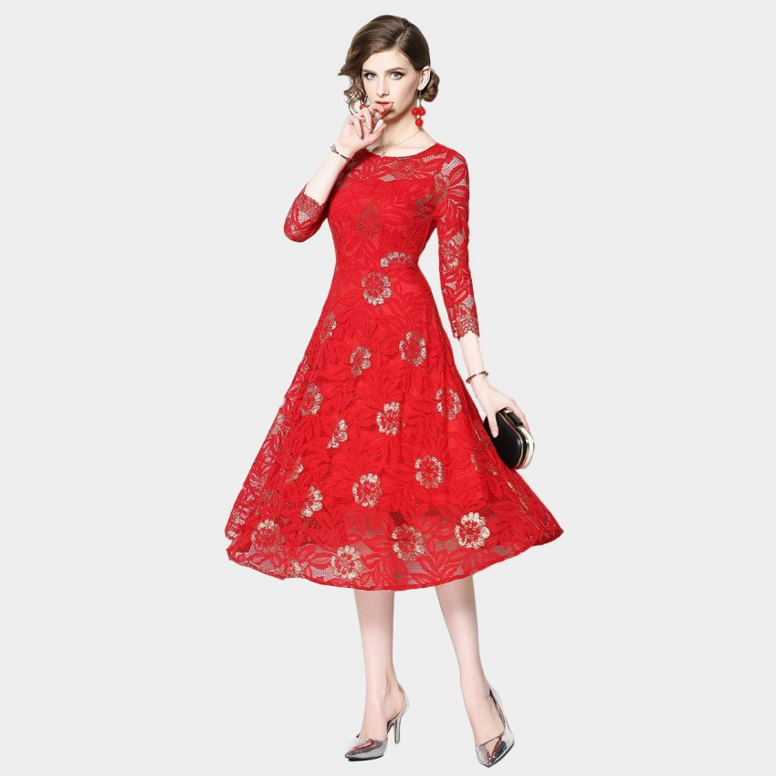Buy OFYA Floral Lace Midi Red Dress online, shop OFYA with free shipping
