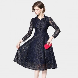 OFYA Star Neckline Navy Dress (6223)