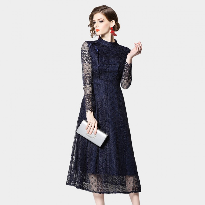 Buy OFYA High-Neck Geometric Navy Dress online, shop OFYA with free shipping