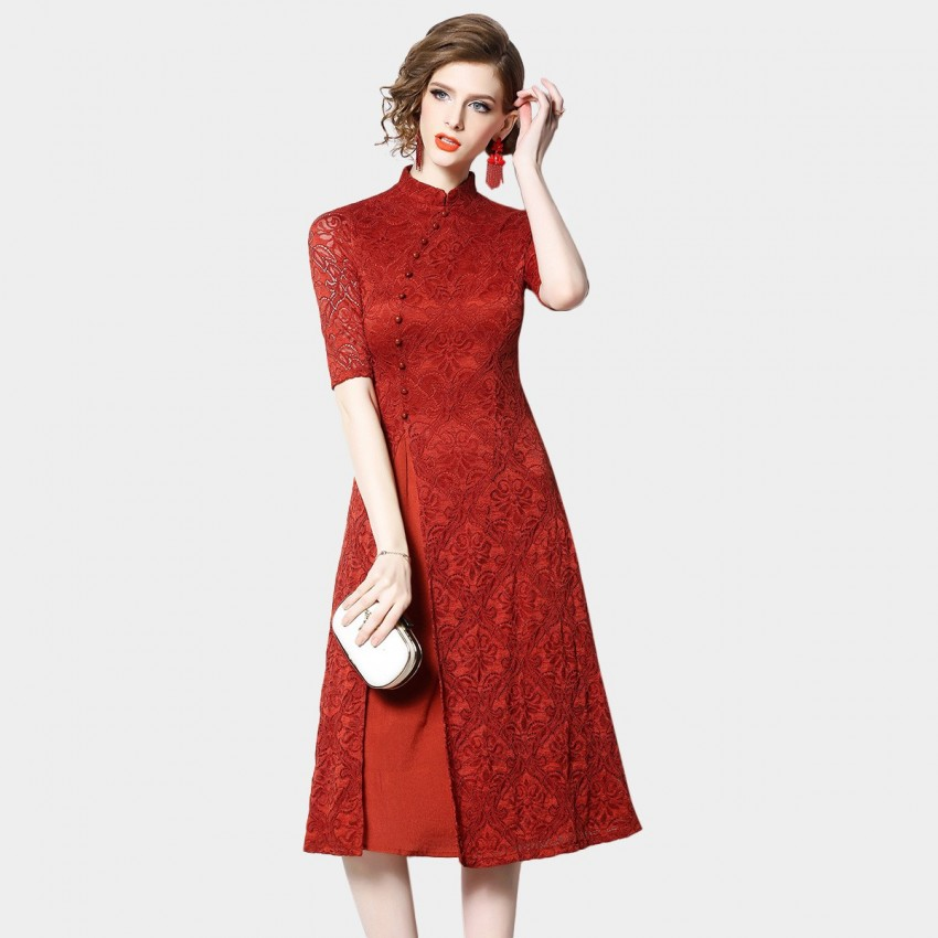 Buy OFYA Mandarin Red Dress online, shop OFYA with free shipping