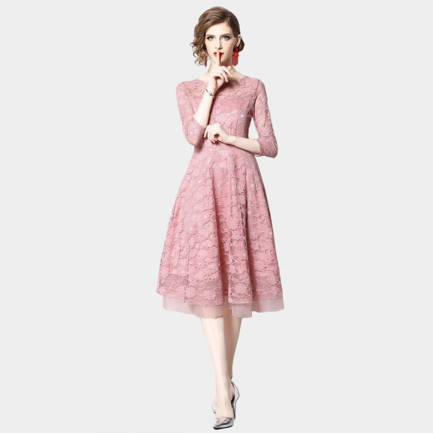 OFYA Dreamy Midi Pink Dress (6227)
