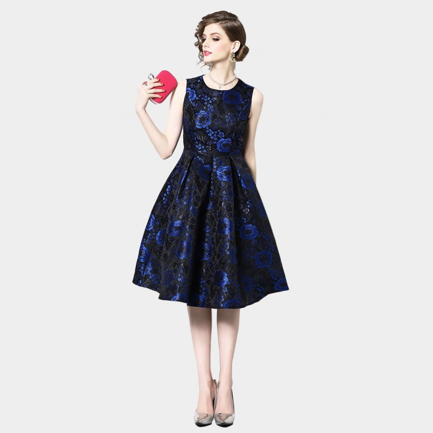 Buy OFYA Floral A-line Navy Dress online, shop OFYA with free shipping
