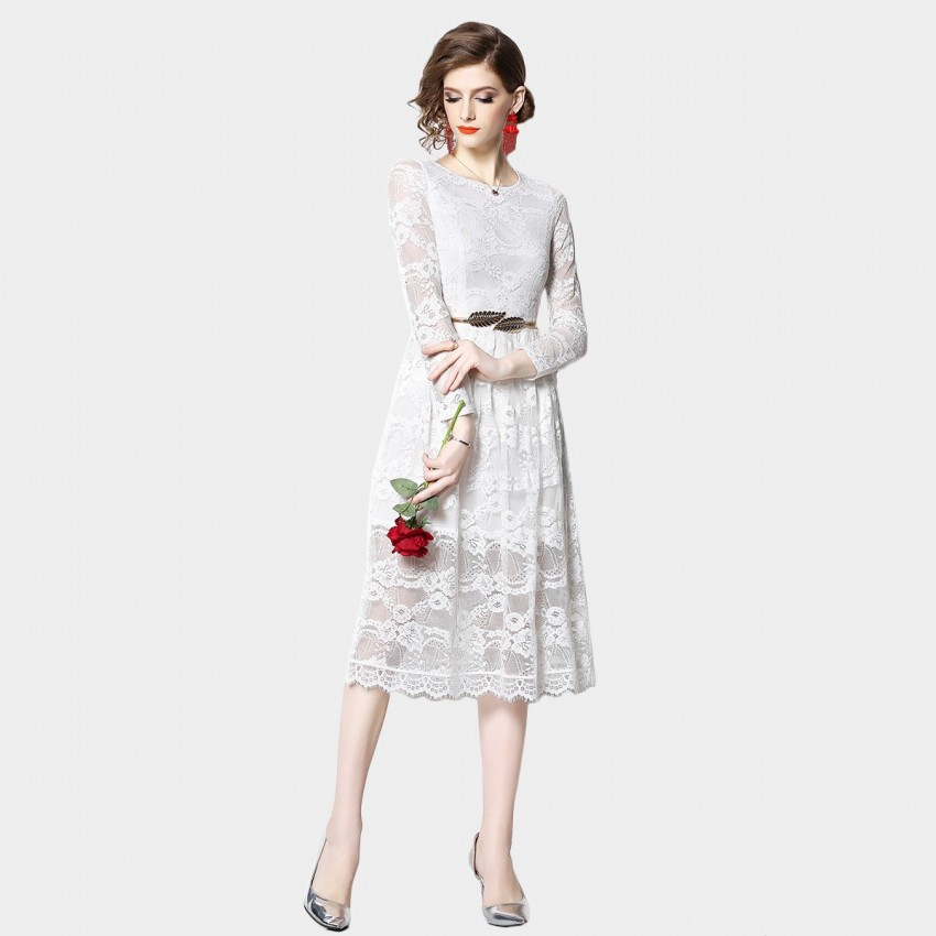 Buy OFYA Floral Belted White Dress online, shop OFYA with free shipping