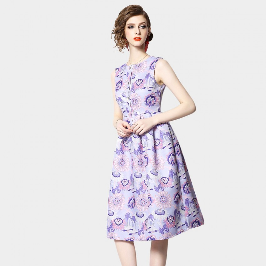 Buy OFYA Floral Buttoned Lilac Dress online, shop OFYA with free shipping