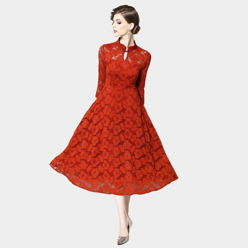 Buy OFYA Mandarin Floral Red Dress online, shop OFYA with free shipping