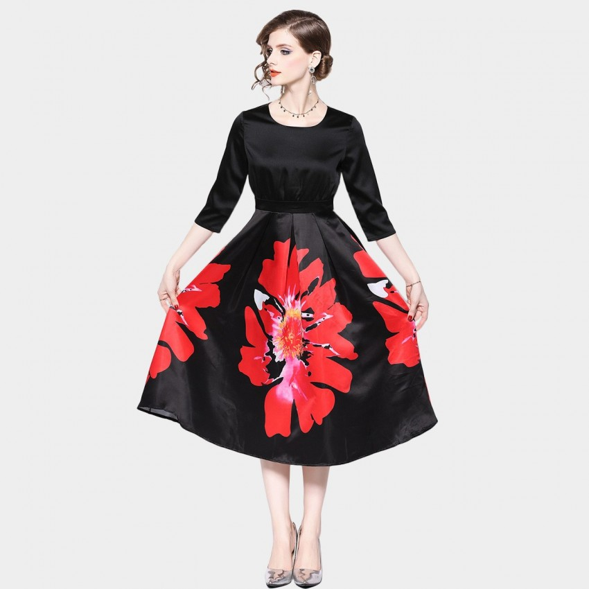 Buy OFYA Bold Floral Black Dress online, shop OFYA with free shipping