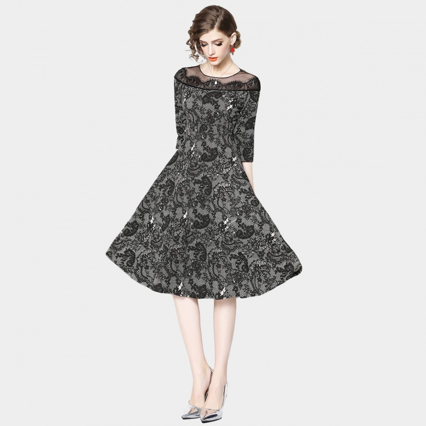 Buy OFYA Vintage Royal Black Dress online, shop OFYA with free shipping