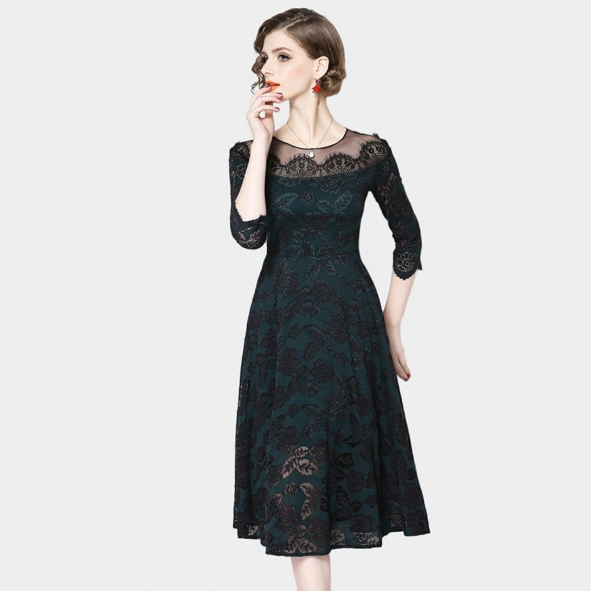 Buy OFYA Subtle Floral Green Dress online, shop OFYA with free shipping