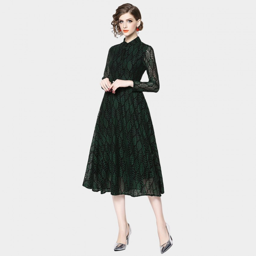 Buy OFYA Calming Leaf Print Green Dress online, shop OFYA with free shipping