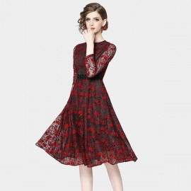 OFYA Floral Dotted Red Dress (6629)