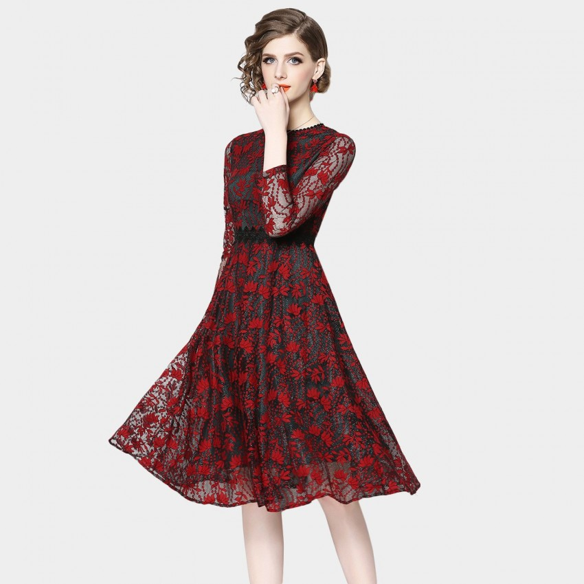 Buy OFYA Floral Dotted Red Dress online, shop OFYA with free shipping